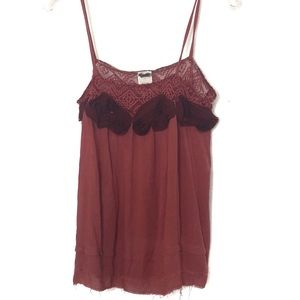 Free People burgundy rosette camisole -557